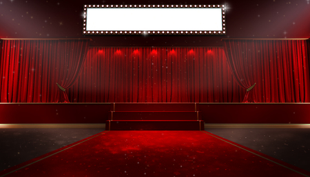 3d rendering of Background with a red curtain and a spotlight. Festival night show poster. Open red curtain. event premiere poster