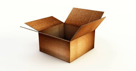 3D rendering of Opened Cardboard box isolated on a white background.