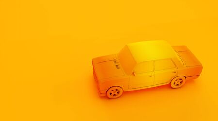 3D rendering of old car on colored background.  monochrome retro car