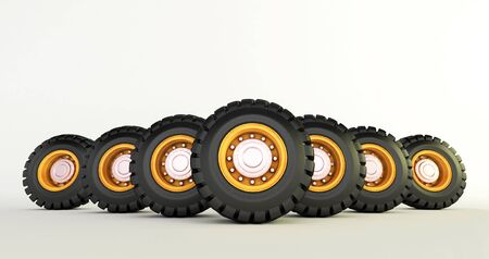 3D rendering of car tires isolated on white background car wheels set. Stock fotó - 131943571