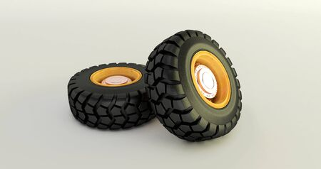 3D rendering of car tires isolated on white background car wheels set.