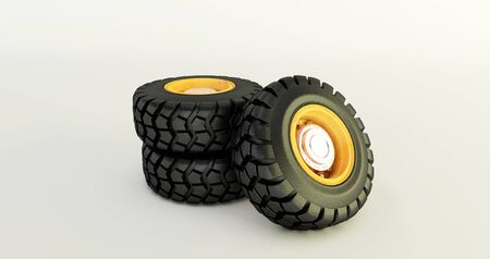 3D rendering of car tires isolated on white background car wheels set. Stock fotó - 131943718