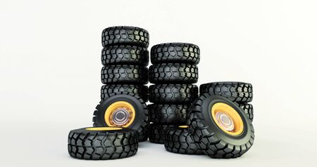 3D rendering of car tires isolated on white background car wheels set. Stock fotó - 131943268