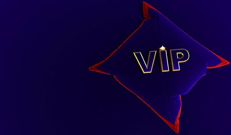 3D rendering of Golden VIP Crown, Royal gold VIP crown on  bleu pillow, Crown VIP