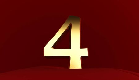3D rendering of Number 4, Gold metal number four, 3D text,