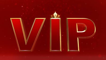 3D rendering of Golden VIP Crown, Royal gold VIP crown on  pillow, Crown VIP