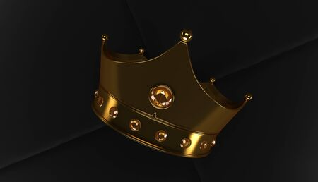 3D rendering of Golden Crown on a black back ground, Royal gold crown on  pillow