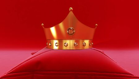 3D rendering of Golden Crown on a red background, Royal gold crown on  pillow Фото со стока - 131943287