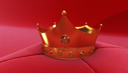 3D rendering of Golden Crown on a red background, Royal gold crown on  pillow