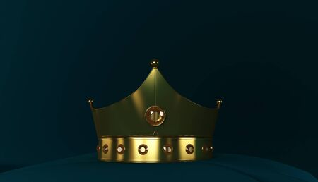 3D rendering of Golden Crown, Royal gold crown on  pillow Фото со стока - 131943870