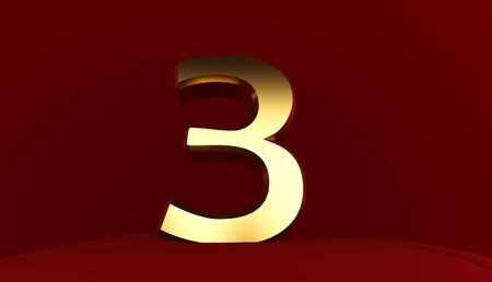 3D rendering of Number 3, Gold metal number three, 3D text,