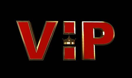 3D rendering of Golden VIP withe Crown isolated on black back ground, Royal gold VIP crown, Crown VIP Stock fotó