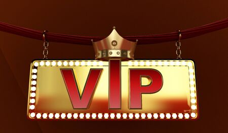 3D rendering of Golden VIP withe Crown, Royal gold VIP crown, Crown VIP