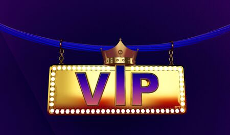 3D rendering of Golden VIP withe Crown, Royal gold VIP crown, A velvet rope barrier, with a vip sign, Crown VIP Stock fotó