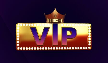 3D rendering of Golden VIP withe Crown, Royal gold VIP crown, vip sign, Crown VIP