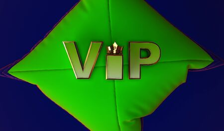 3D rendering of Golden VIP withe Crown, Royal gold VIP crown on  pillow, Crown VIP