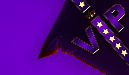 3D rendering of Golden VIP withe Crown, Royal gold VIP crown on  pillow, Crown VIP withe stars Stock fotó