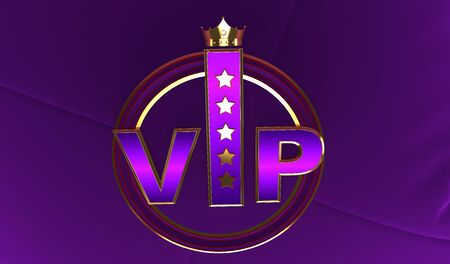 3D rendering of Golden VIP withe Crown, Royal gold VIP crown, Crown VIP with stars Фото со стока