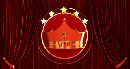 3D rendering of Golden VIP withe Crown, Royal gold VIP crown on a red Curtain silk background, Crown VIP with stars 免版税图像