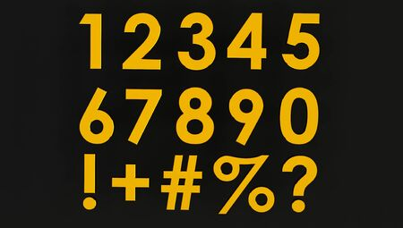 3d rendering of a Set of Golden numbers with symbol. Number from 0 to 9 in gold over black background