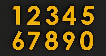 3d rendering of a Set of Golden numbers. Number from 0 to 9 in gold over black background