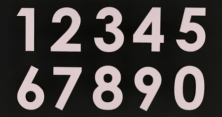 3d rendering of a Set of metal numbers. Number from 0 to 9 in chrome over black background