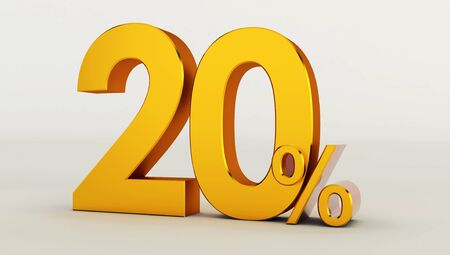 3D rendering of a golden twenty percent on a white background. Sale of special offers.