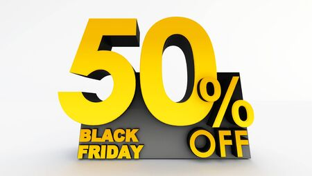 3D rendering of fifty percent off on a white background. Sale of special offers. Discount with the price is 50%. black friday