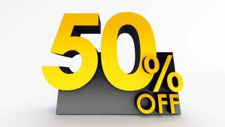 3D rendering of fifty percent off on a white background. Sale of special offers. Discount with the price is 50%.