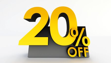 3D rendering of twenty percent off on a white background. Sale of special offers. Discount with the price is 20%. black friday