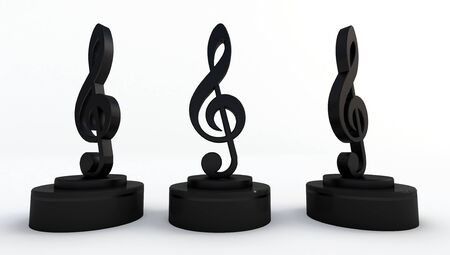 3d rendering of black music note Isolated on white background.