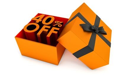 3D rendering of 40% off discount promotion sale. Xmas sale and more. forty percent off sale isolated on white background