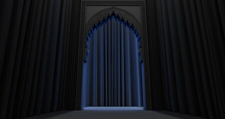 3D rendering of arabic door design withe blue light. Mosque door with arabic pattern