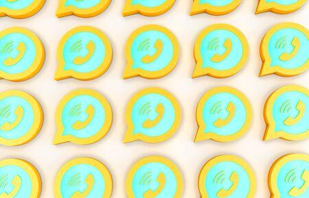 3d rendering  of golden logos isolated on white background Standard-Bild