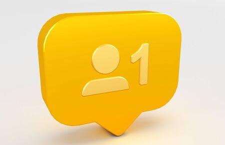 3D rendering of Social media notification icon. follow icon. Standard-Bild