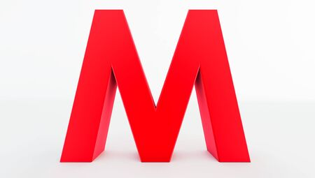 3D rendering of red Letter M. red letter collection m