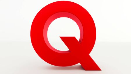 3D rendering of red Letter Q. red letter collection q Standard-Bild