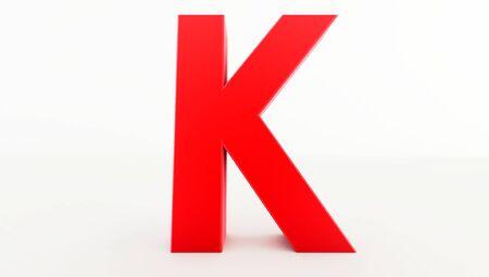 3D rendering of red Letter K. red letter collection k Standard-Bild
