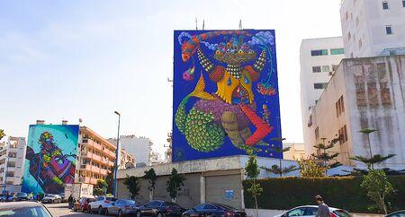 Casablanca, Morocco, Africa - april 01 2020. Beautiful street art graffiti style. Conceptual street art background Standard-Bild