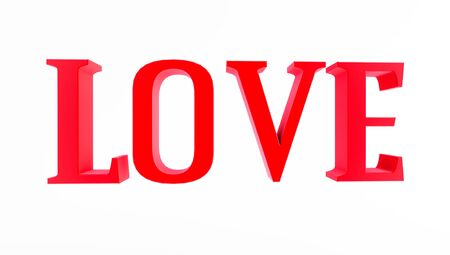 RED LOVE typography on white background, Valentine's Day, 3D rendering