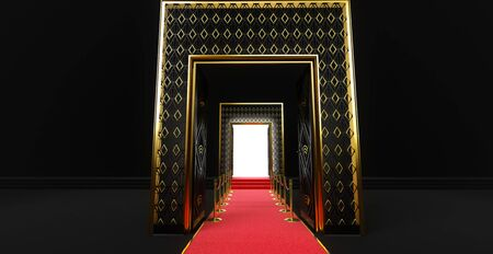 3D rendering of a long red carpet between rope barriers with stair and door at the end Standard-Bild