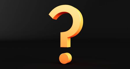 3D rendering of Question Mark on black Background. Exclamation and question mark Standard-Bild