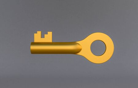 golden door keys isolated on grey background. 3D rendering