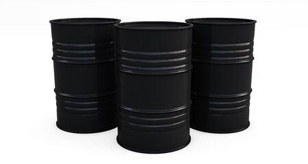 Black oil barrels on white background. 3D render Standard-Bild