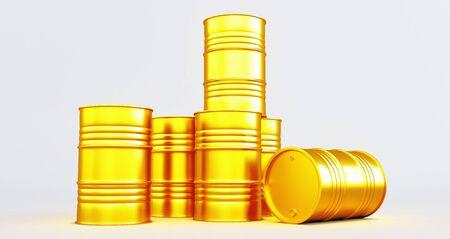 Golden oil barrels on white background. 3D render