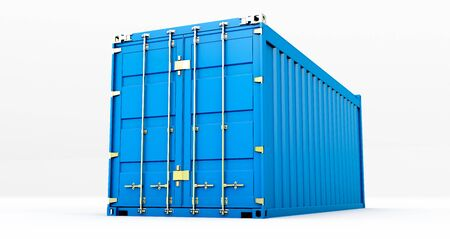 3D rendering of cargo container isolated on white background. Containers box from Cargo freight ship for import and expor,