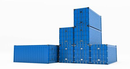 Isolated cargo container isolated on white background. Containers box from Cargo freight ship for import and expor, 3D rendering