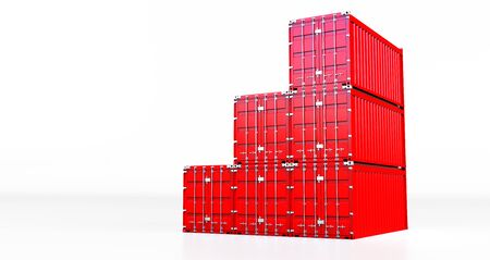 3D rendering of red cargo container isolated on white background. Containers box from Cargo freight ship for import and expor,