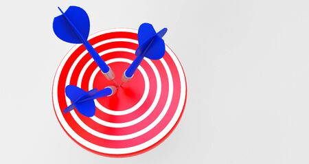 3d rendering. target with a dart in the center. Concept of objective attainment. Stock Photo