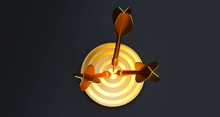 3d rendering. target with a dart in the center. Concept of objective attainment. golden target Standard-Bild